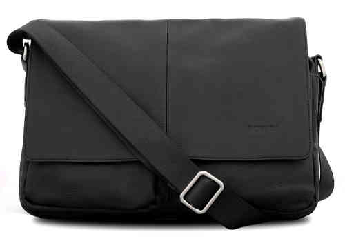 Messenger Bag Schultertasche Umhängetasche Model London - Limited Premium Edition - 35x27x8cm -black