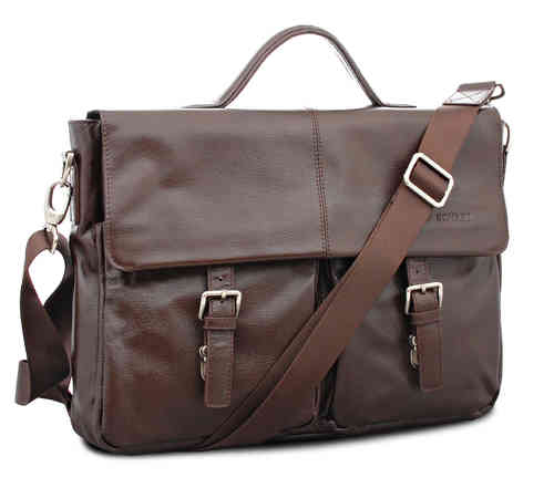 Brown Messenger Bag Laptop-Tasche Aktentasche Model Toronto- echt Leder - 39x30x10 cm -