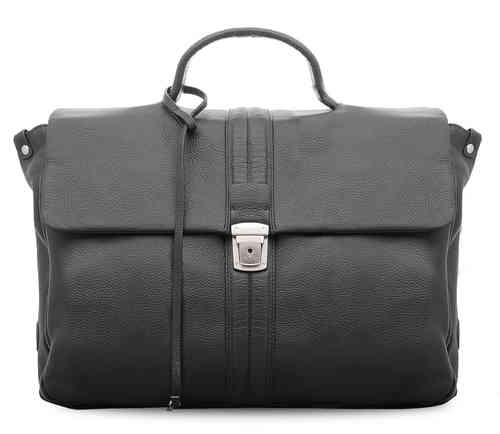 echt Leder Aktentasche Model Oslo 2 - 38x27x11 cm - schwarz/black/noir - Limited Premium Edition
