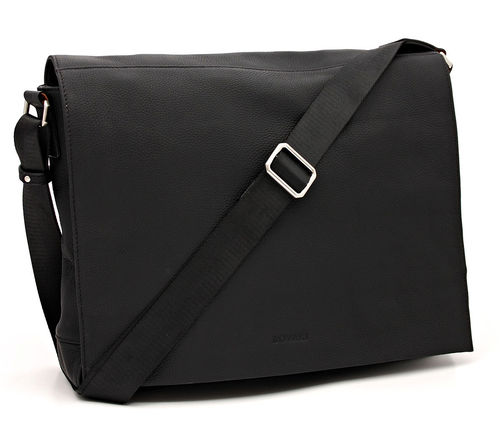 Bovari echt Leder Messenger Bag Model Metz - schwarz/black - Limited Premium Edition